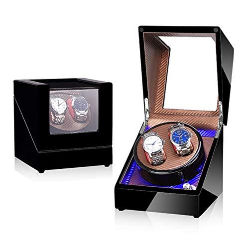 HJSW Caja Giratoria para Relojes Automatico, Caja Enrollador de Reloj Watch Winder Box Reloj de Pulsera Caja de Almacenamiento Reloj Giratorios con Motores Silenciosos para 2 Relojes (Color : 3)