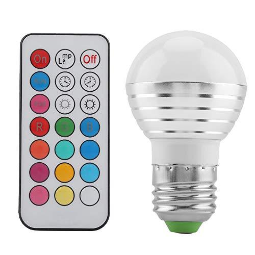 SHYEKYO Bombilla de luz LED E27 RGB, 16 Luces cambiantes Multicolores, Control Remoto de 3 W de bajo Consumo para Patio, Pasillo, Efecto de Escenario