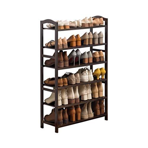 M-YN Zapatero Los estantes organizadores de Almacenamiento de bambú de 6 Niveles admiten hasta 24 Pares de Zapatos, for baño, Sala de Estar y marrón Oscuro Corrido (Size : 50CM)