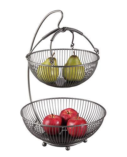 CALUTEA Moderne Obst Etagere // Metall // Schwarz // 3-teilig // Zwei große Obstschalen & Bananenhalter