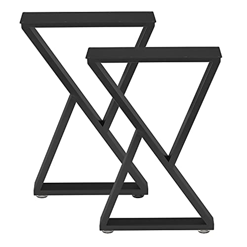 Industrial Metal Table Legs (H28 x W17.7) Heavy Duty Modern Furniture Legs for DIY Use Set of 2 Desk Legs Multiple Uses for Dinning Table,Coffee Table,Kitchen Table-(Triangle-Shape,Black)