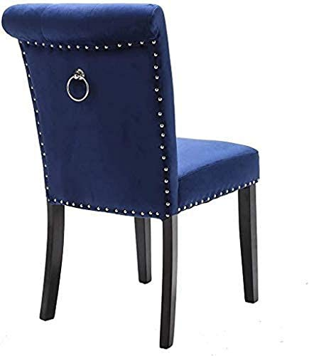 LJYY Silla de comedor de terciopelo azul marino con respaldo alto de 13 cm de grosor, tapizado con tachuelas tipo S, silla de goma de madera, silla ocasional para cocina y restaurante