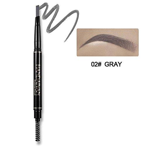 Augenbrauenstift mit Bürste, Precision wasserdicht Doppel-Augenbrauen Bleistift(Grau)