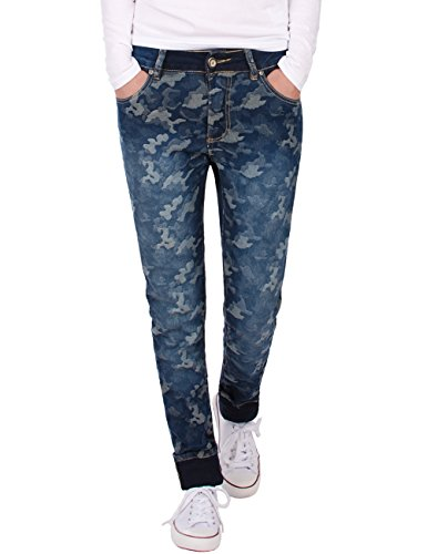 Fraternel Damen Jeans Hosen normal fit Camouflage Stretch gerade Blau XL / 42