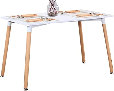 Modern Furniture Rectangular White Table Dining Table with Natural Wood Legs for Office Lounge Dining Kitchen - White,120x80x75cm