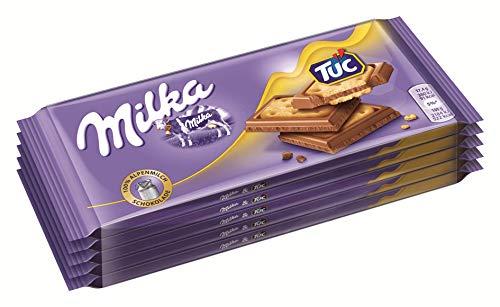 Milka Alpenmilch Schokolade & TUC Cracker - Zartschmelzende Schokoladentafel mit gesalzenen Keksen - 5 x 87g Sammelpack - 5 x 435 g