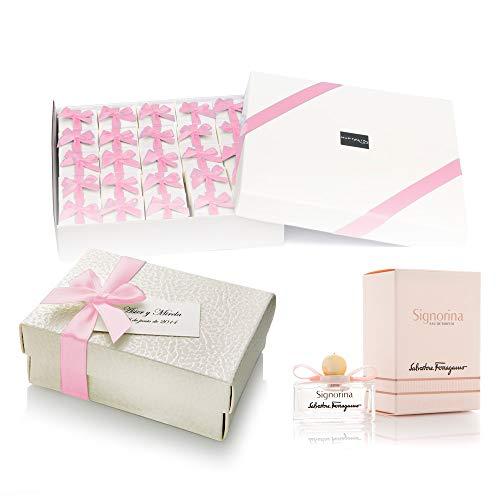 Pack 20 mini perfumes de mujer como detalles de boda para invitados Ferragamo Signorina Eau de parfum 5 ml. original personalizado