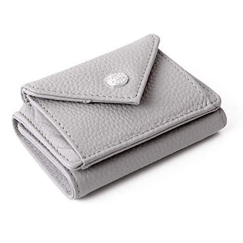 【SIMPS】 小さい財布 ミニ財布 高級 本革 牛革 コンパクト レザー 三つ折り財布 ボックス型 大容量 コインケース メンズ レディース (グレー)
