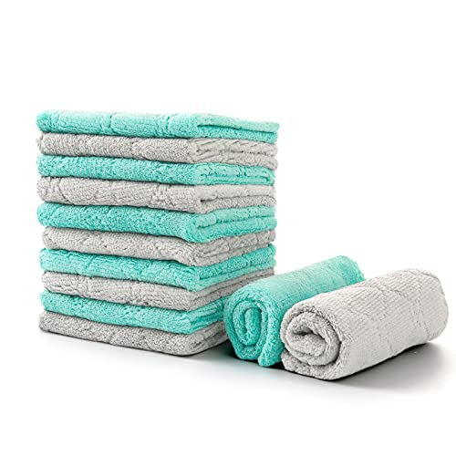 """Loophee 12 Pack Kitchen Towels, Premium Dish Cloths, Lint-Free Dish Towels, Super Soft Coral Velvet Cleaning Towels, Nostick oil Cleaning Cloths, Super Absorbent and Fast Drying, 10""""x10"""", Green-Grey."""