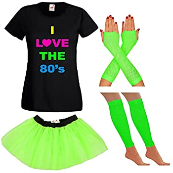 Neon Green I Love the 80s Skirt and T-shirt Set