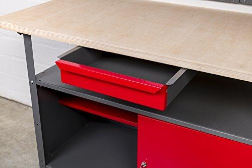 Werkbank aus Metall mit 30 mm Sperrholzplatte mit einer verschließbaren Tür, einer Schublade sowie einer Zwischenablage, Maße B 120 x H 85 X T 60 cm - 3