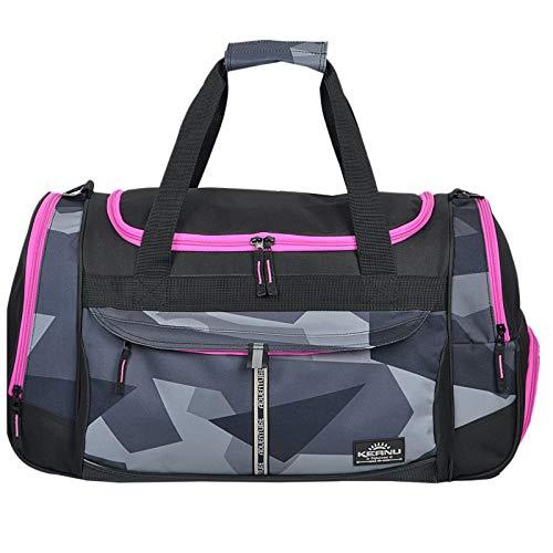 Sporttasche Keanu Adventure Damen Herren * Viele Fächer Schuhfach, Seitentaschen * 45 Liter Fitness Tasche Sport Sauna Reisetasche (Geometric Camo Pink Zippers)