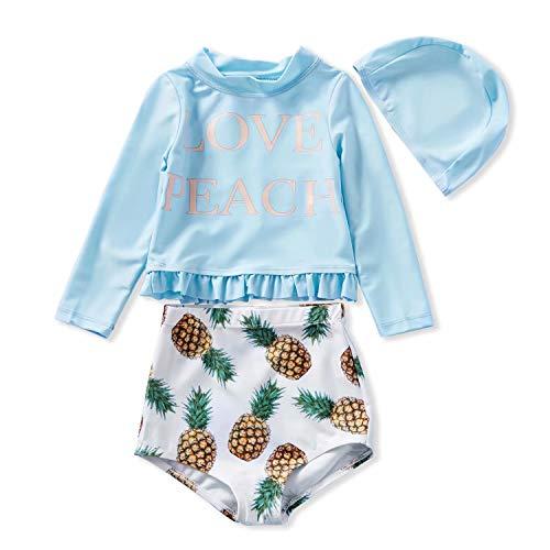 IFFEI Baby Meisjes 3 Stuk Badpak Set Ananas Gedrukt Ruches Rash Guard Kostuum Zon Bescherming Zwemkleding met Hoed voor Baby Peuter