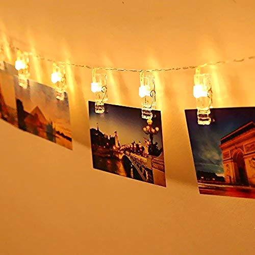 20 LEDs Foto Clips Lichterketten, Warmweiß Dauerlicht für Bilder Fotos Karten Hängen, Batteriebetriebene Stimmungsbeleuchtung Dekoration für Valentinstag, Weihnachten, Geburtstag, Party, 2,2m