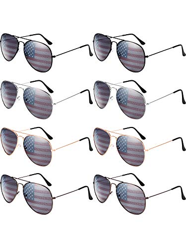 8 Pack USA America American Flag Sunglasses for 4th of July