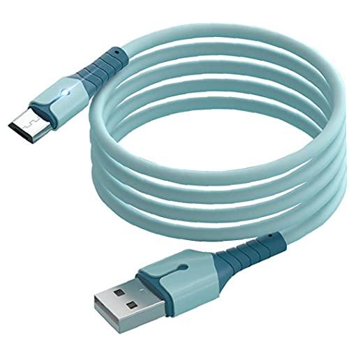 Cable de datos USB Cable de silicona líquido Carga rápida Micro Cargador de alambre con luz LED para teléfonos móviles Tipo C azul 1M Communication Electronics