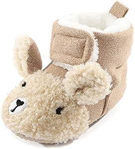 LACOFIA Botines de Suela Suave Antideslizante para bebé niña o niños Zapatos de Invierno para bebés Caqui 3-6 Meses