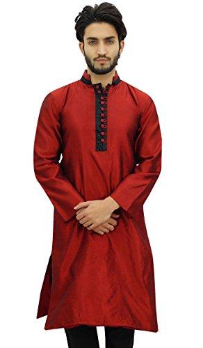 Atasi Camisa de Estilo Bollywood Etnica Long Kurta Maroon Dupion de Los Hombres de -XXX-Large