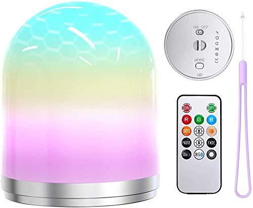 ZSW Luz de noche LED que cambia de color Lámpara de mesita de noche Luz de humor RGB Control remoto USB Iluminación recargable Luces de carpa para el dormitorio de los niños-Defecto