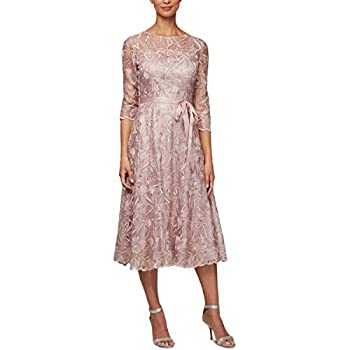 Alex Evenings Women s Tea Length Embroidered Dress Illusion Sleeves  Petite Missy  Rose 18