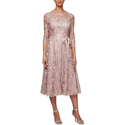 Alex Evenings Women's Tea Length Embroidered Dress Illusion Sleeves (Petite Missy), Rose, 14