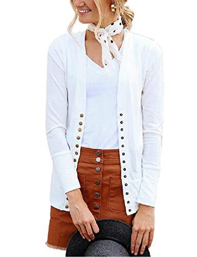 Traleubie Women's Long Sleeve V-Neck Button Down Knit Open Front Cardigan Sweater White L