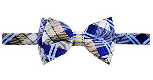 Retreez Elegante Tartán Plaid Check Tejido Microfibra Pajarita Niños Bow Tie Azul Navy Blue and Khaki 4-7 Años