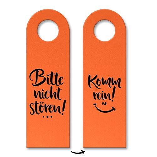 trendaffe - Nicht stören oder Komm rein Türhänger in Orange mit lachendem Gesicht Zimmertüre