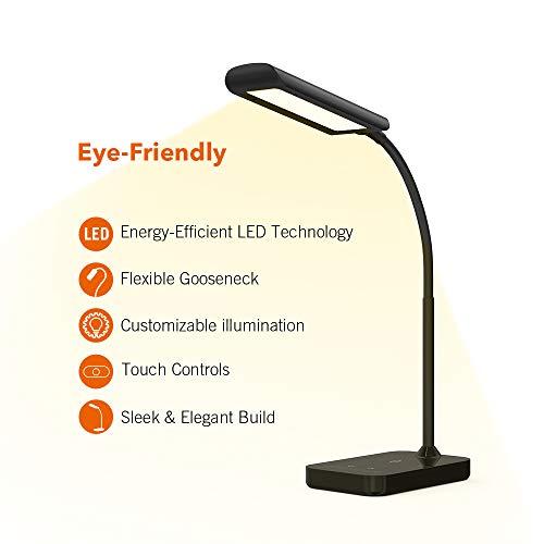 TaoTronics Schreibtischlampe LED TT-DL11 Flexible Schwanenhals Tischlampe 7W 5 Farbtemperaturen mit 7 Helligkeitsstufen Berührungssteuerung Speicherfunktion