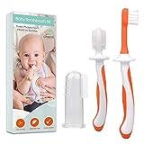 Zahnbürste Baby 0-2 Jahre - 3-teiliges Zahnbürsten-Set mit Fingerzahnbürste Baby und Kauzahnbürste als Zahnungshilfe Baby in Orange