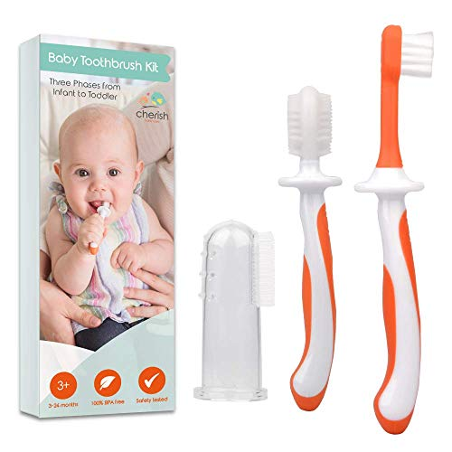 Zahnbürste Baby 3-24 Monate - 3-teiliges Zahnbürsten-Set mit Fingerzahnbürste Baby und Kauzahnbürste als Zahnungshilfe Baby in orange