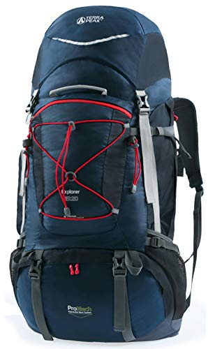 TERRA PEAK Adjustable Hiking Backpack 65L+20L for Men Women Navy