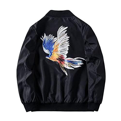 Bomber Jacket Men Long Sleeve Men's Coat Spring Windbreaker Harajuku Streetwear Black M (52-57kg)