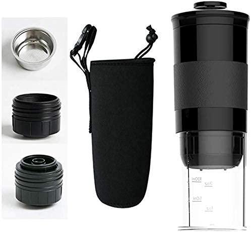 LITINGT Cafetera portátil, máquina de café expreso Manual Compatible con cápsula de café molido Minipresso para Viajes de Oficina en casa Camping al Aire Libre
