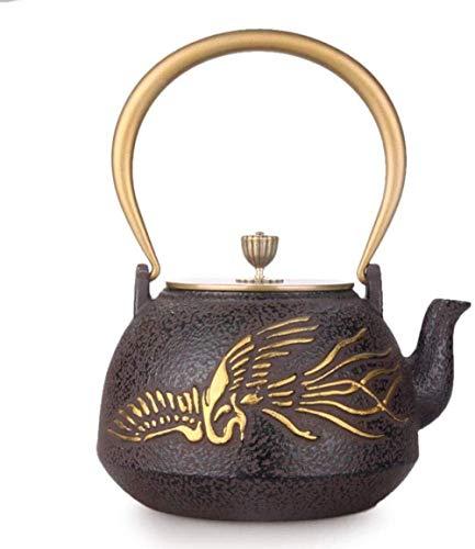 XY-YZGF Juegos de té de té Ollas de hierro fundido tetera de té ollas de hierro tetera de hierro Olla de hierro fundido olla de hierro fundido tetera de hierro viejo Pot Phoenix Gold Bronce cubierta P