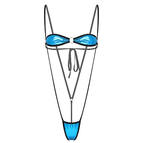 YOOJIA Traje de Baño de Verano para Playa para Mujer Conjunto de Ropa Interior de Sujetador con Cordones y Tanga Traje de Lencería de Charol Metálico Azul Cielo Talla Única