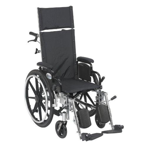 """Viper Plus Light Weight Reclining Wheelchair with Elevating Leg Rests and Flip Back Detachable Arms, 14"""" Seat"""