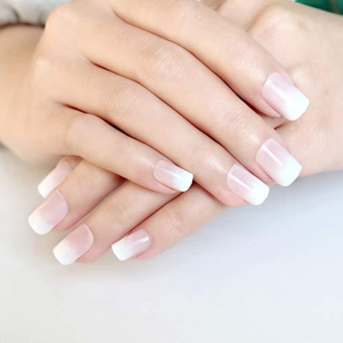 Rose Faux Ongles Français Capsules Ongles Naturel Couverture complète Moyen Acrylique Bouts d'ongle d'art Pour 24 Pièces