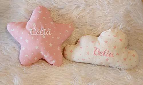 Cojines personalizados, pack de 2 cojines personalizados con el nombre del bebé, bordado a máquina, para decoración de cunas, estrella y nube.