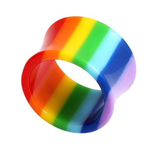 Öse aus Acryl, doppelt ausgestellt, Regenbogenfarben Größe: 10 mm dick. Ohr Stretcher Flesh Tunnel Expander Plug Tube Ohrläppchen Piercing Schmuck Gay Pride. LGBT. TDi Jewellery Größenkarte im Lieferumfang enthalten.