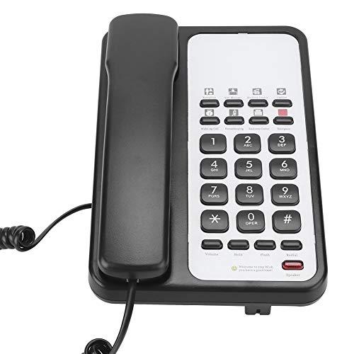 Stacjonarny telefon przewodowy Biuro biznesowe Telefon do użytku domowego Urządzenie głośnomówiące Telefon stacjonarny z ponownym wybieraniem (czarny)