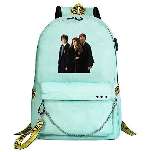 Mochila Harry Potter, Mochila Informal para la Universidad, Insignia de Hogwarts, Mochila Escolar Verde estilo-19
