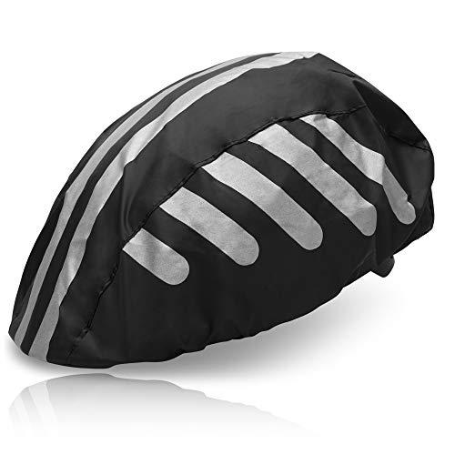 HINRI Reißfeste Fahrradhelm Abdeckung | 100% wasserdicht, mit Reflektoren | Elastische Regenkappe - Für jeden Helm geeignet (Schwarz)