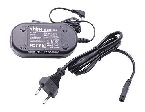vhbw Cargador, Cable de Carga, Fuente de alimentación para cámaras Canon DC10, DC100, DC19, DC20, DC201, DC21, DC210, DC211, DC22.