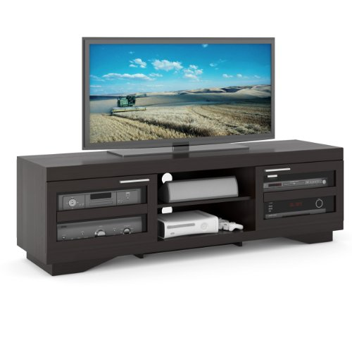 Hot Sale B-007-RGT Granville 66-Inch Wood Veneer TV Bench, Deep Black