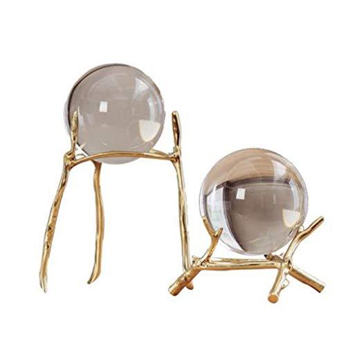 Fengshop Adornos Bola de Cristal Moderna de Cristal Transparente con Soporte de Cobre Puro, por Bola Decorativa Adornos para el hogar