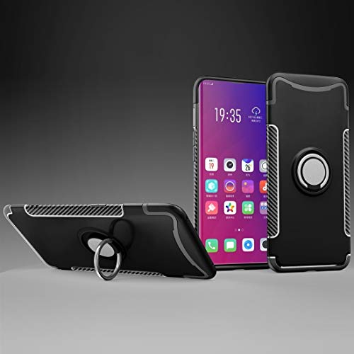 GLXC AYD Magnetic 360 Degree Rotation Ring Holder Armor Protective Case for OPPO Find X (Black) (Color : Black)