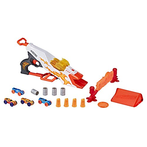 NERF Doubleclutch Inferno Nitro Toy Includes Blaster, 4 Foam Body Cars, Double Reactive Target, Double Ramp, & 8 Obstacles for Kids 5 Years Old & Up