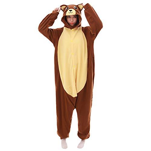 LPATTERN Erwachsene Damen/Herren Cartoon Kostüm- Jumpsuit Overall Schlafanzug Pyjamas Einteiler, Braun und Gelb Bär, S für Körpergröße 150-158CM