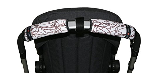 Tris&Ton Fundas empuñaduras horizontal doble Moto Blanca, empuñadura funda para silla de paseo cochecito carrito carro (Tris y Ton) (Blanco rallas)